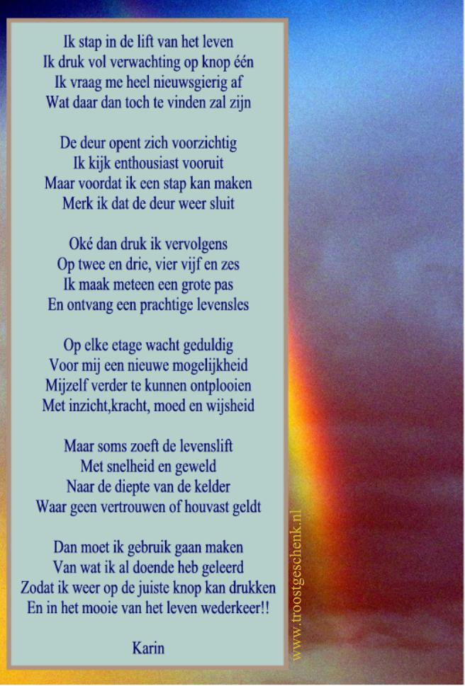Troostgeschenk Gedicht Ik stap in de lift van het leven