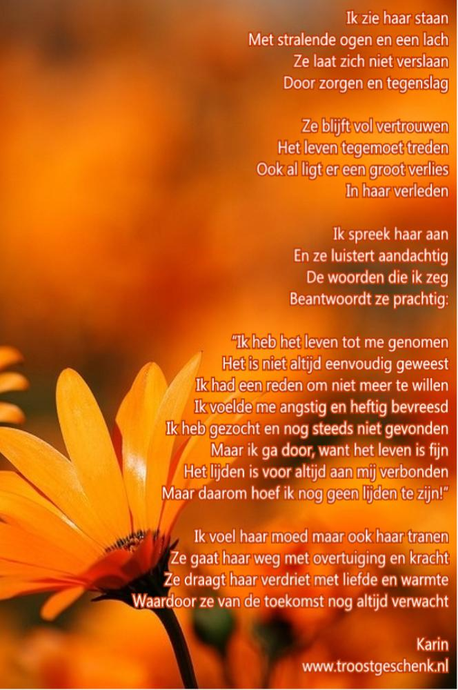Troostgeschenk Gedicht Ik zie haar staan  bloem