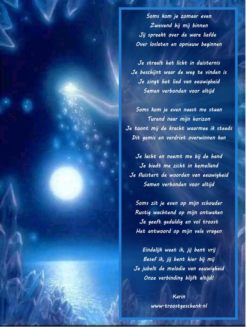 Troostgeschenk gedicht soms kom je zomaar even - Een ster in mijn cabine ...
