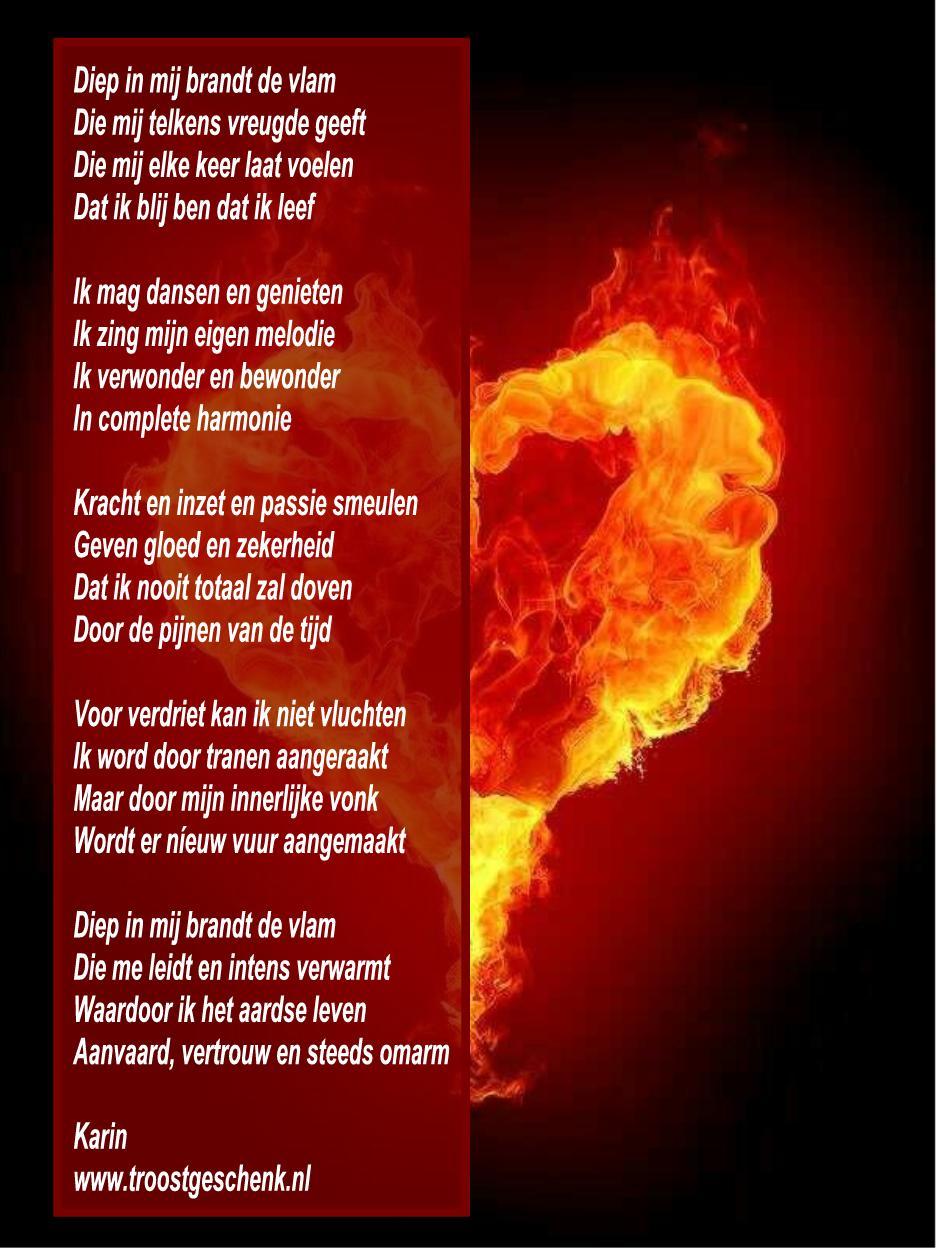 Troostgeschenk Gedicht Diep in mij brandt de vlam