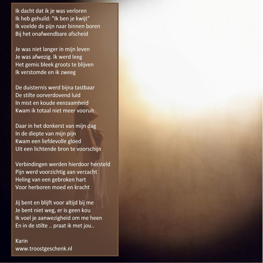 Bekend Gedicht Ik dacht dat ik je was verloren - Troostgeschenk Blog RH27